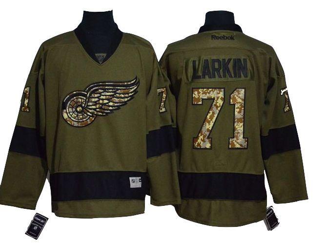 Detroit Red Wings Jersey - 71 Dylan Larkin Green Salute To Service Hockey  Jersey 1989cc273