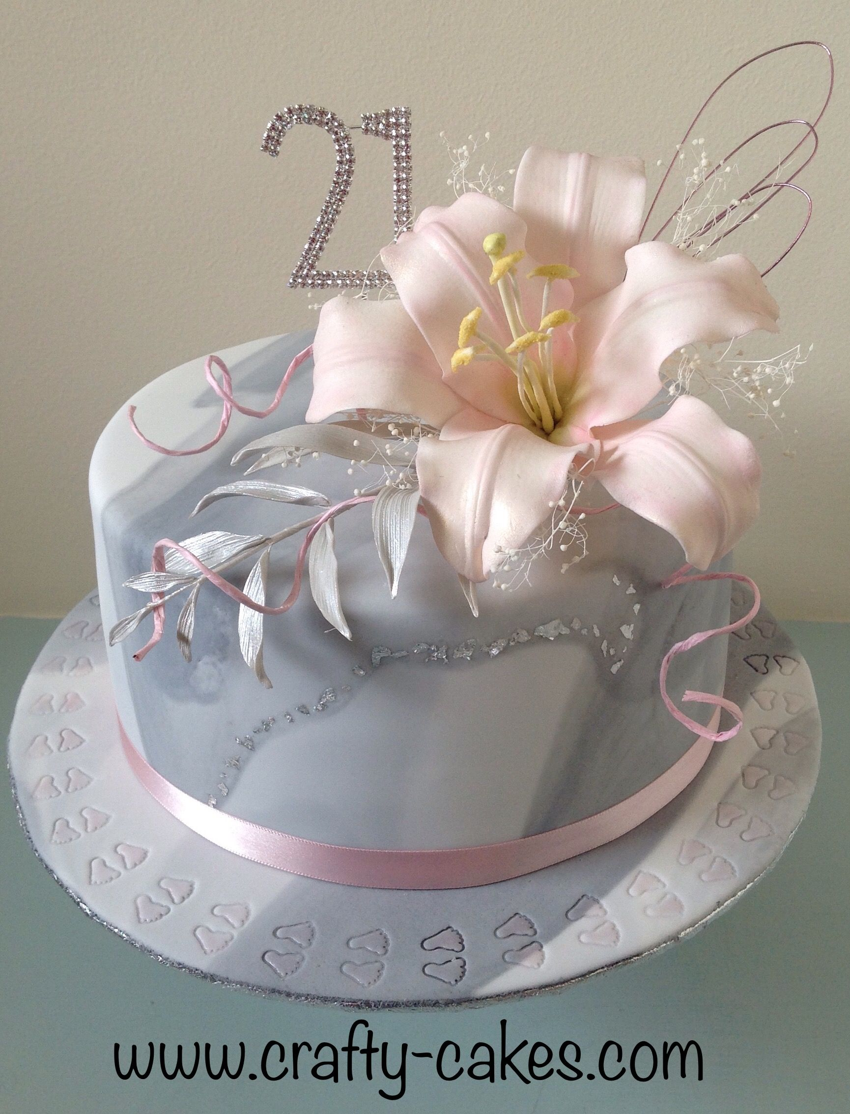 Grey White 21st Marble Cake With Silver Leaf And Pink Lily Spray