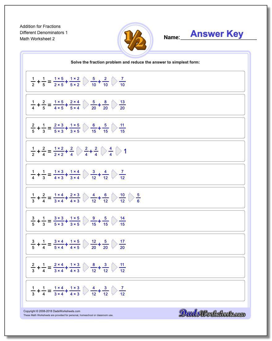 Addition Worksheet For Fraction Worksheets Different Denominators 1 Fraction Worksheet Additio Fractions Worksheets Subtracting Fractions Improper Fractions