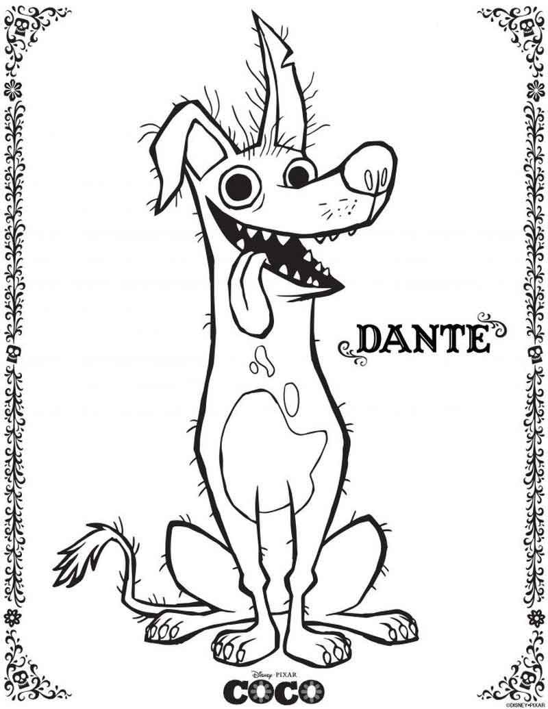 Dante Coco Coloring Pages Animal Coloring Pages Disney Coloring Pages Cartoon Coloring Pages
