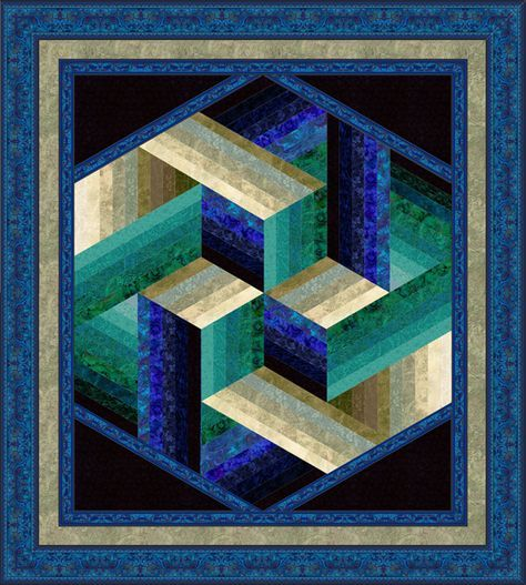 """""""Faberge"""", a dimensional strip quilt by Jinny Beyer art blue aqua teal turquoise"""