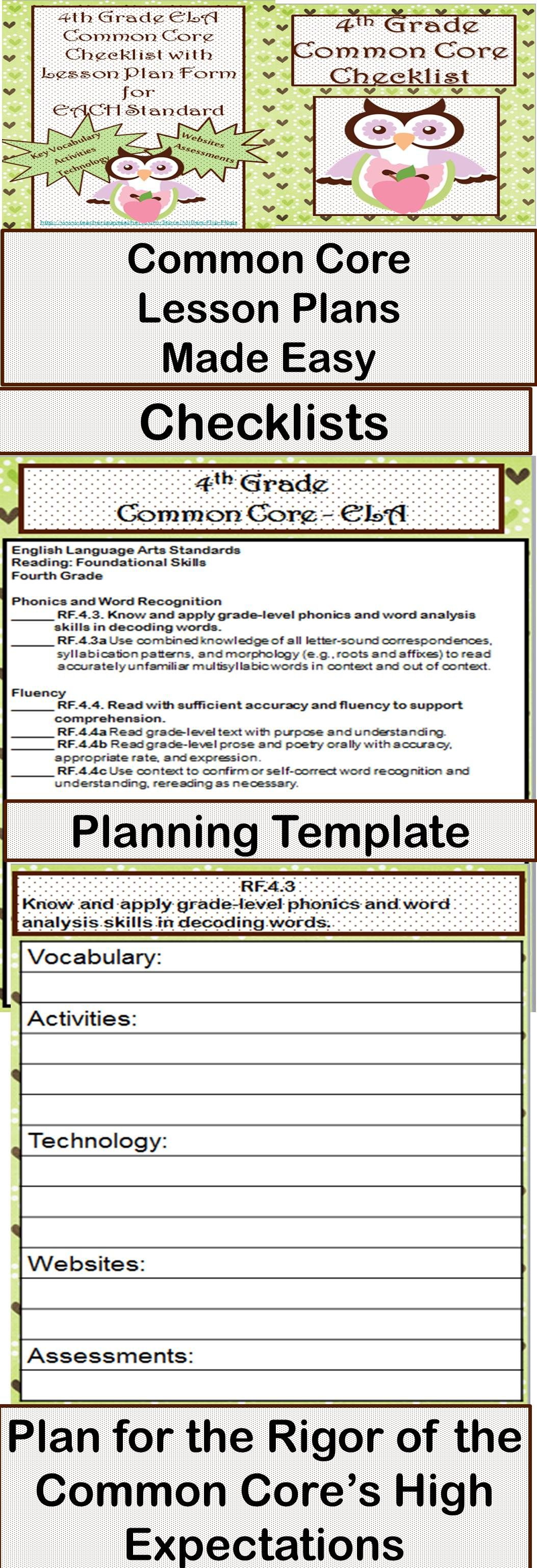 Th Grade ELA Common Core Checklist Lesson Planning Form - Lesson plan template using common core standards