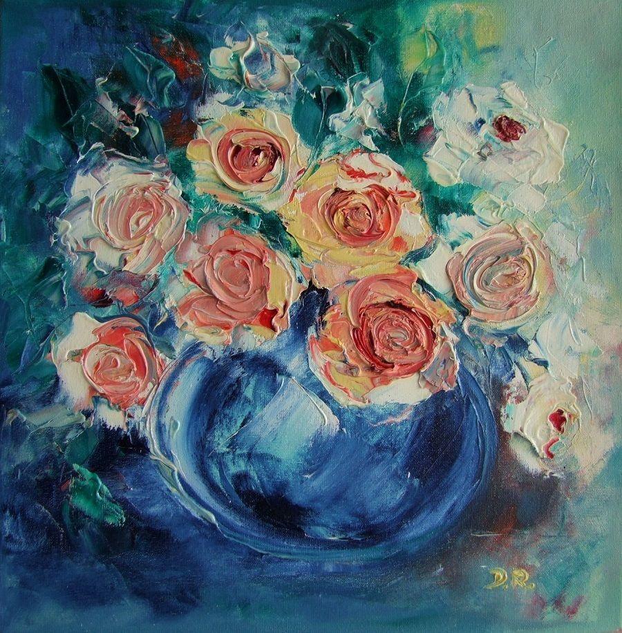 Roses impasto original oil painting bouquet europe artist still roses impasto original oil painting bouquet europe artist still life blue vase reviewsmspy