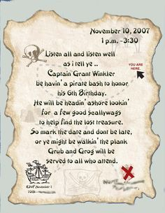Cute pirate invite wording party fun pirates pinterest cute pirate invite wording filmwisefo