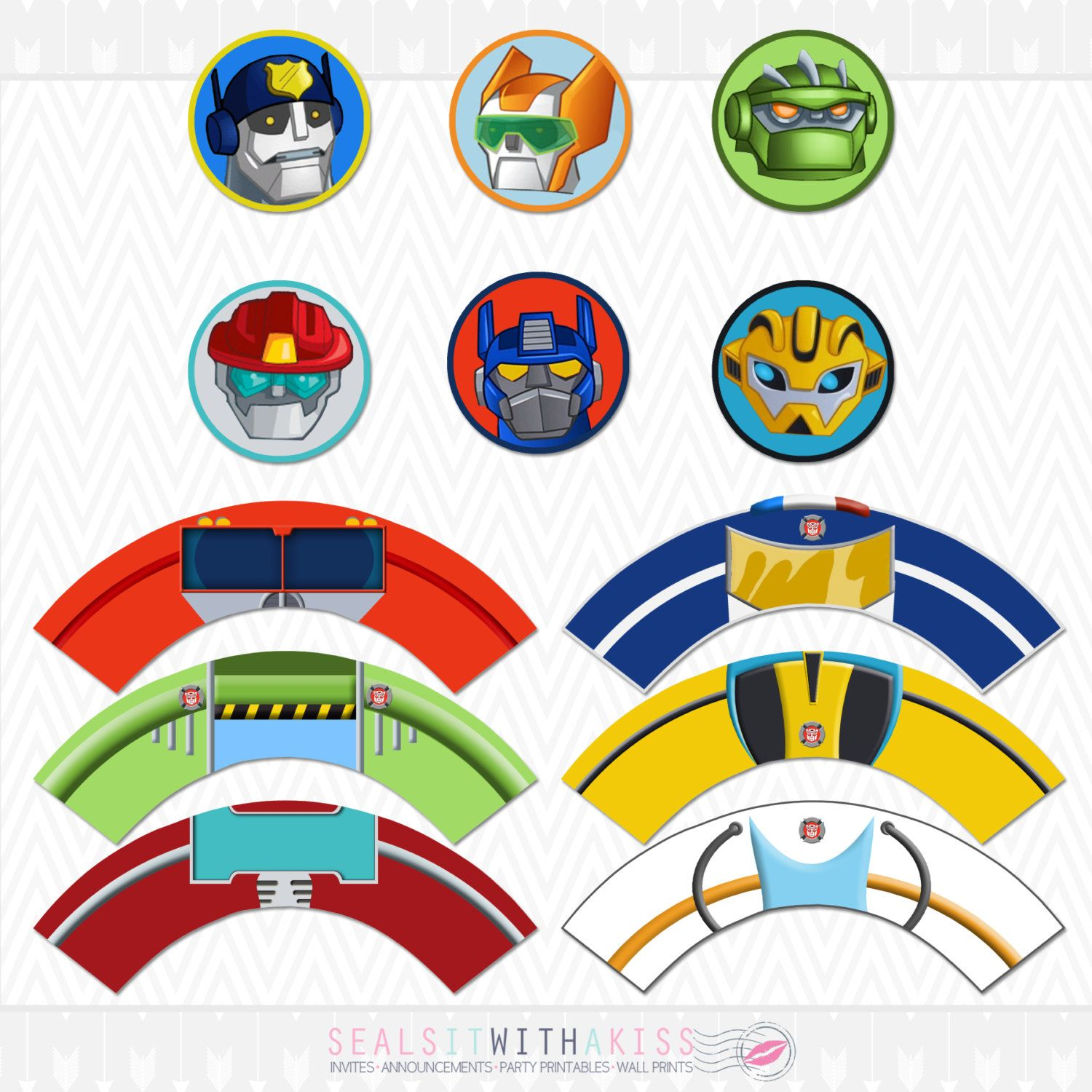 Transformers Rescue Bots Cupcake Toppers And By