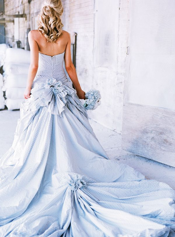 Dramatic blue and white seersucker wedding gown  2f2ccb01c224