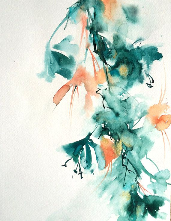 Abstract Original Watercolor Modern Painting By Canotstop On Etsy