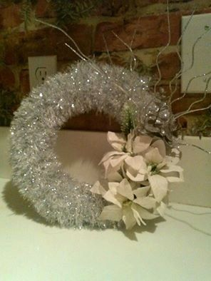 Silver wreath with white poinsettias by TheKnitBrit on Etsy
