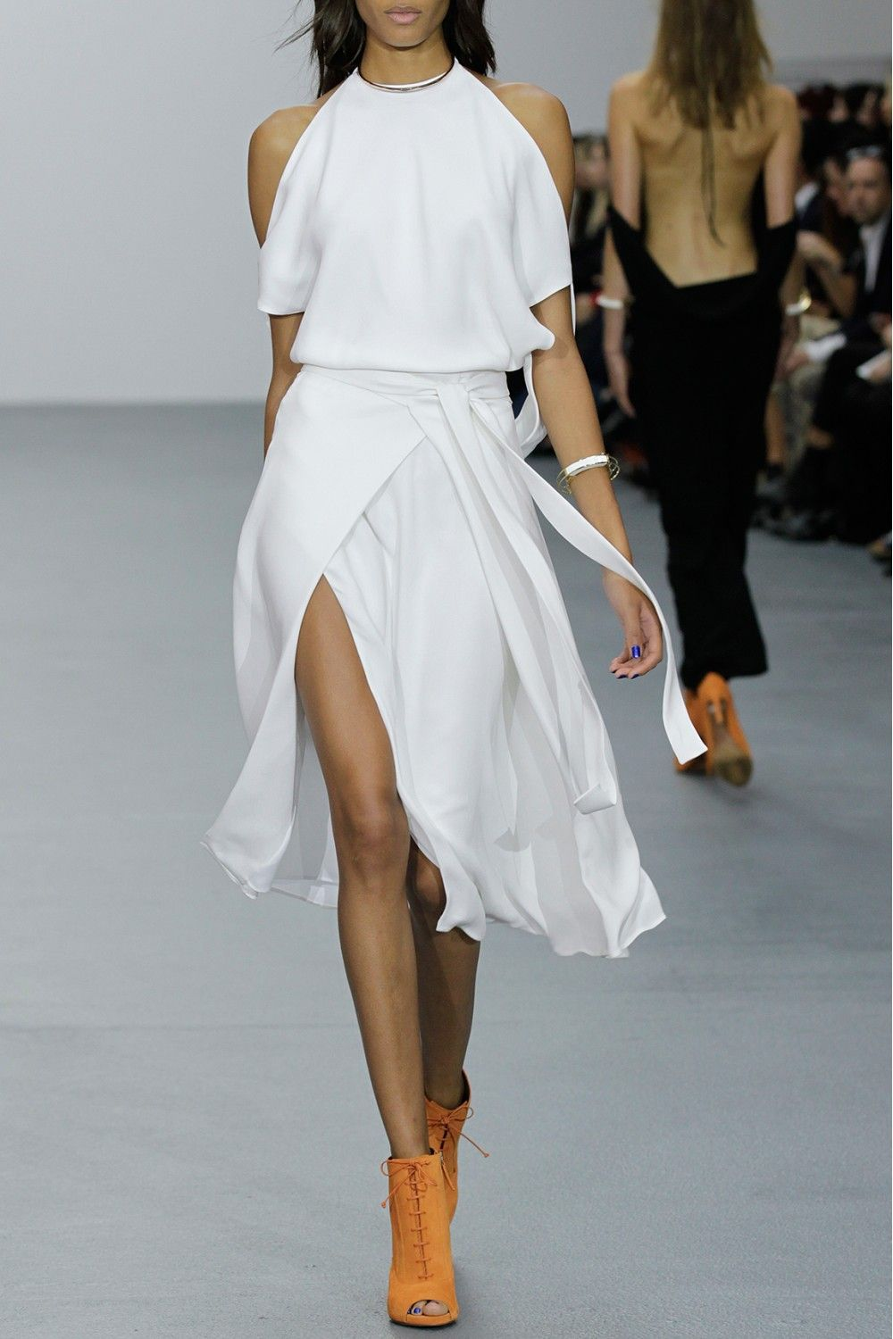 Issa Bir White Silk Dress The Black Jumpsuit In Back Is As Fabulous