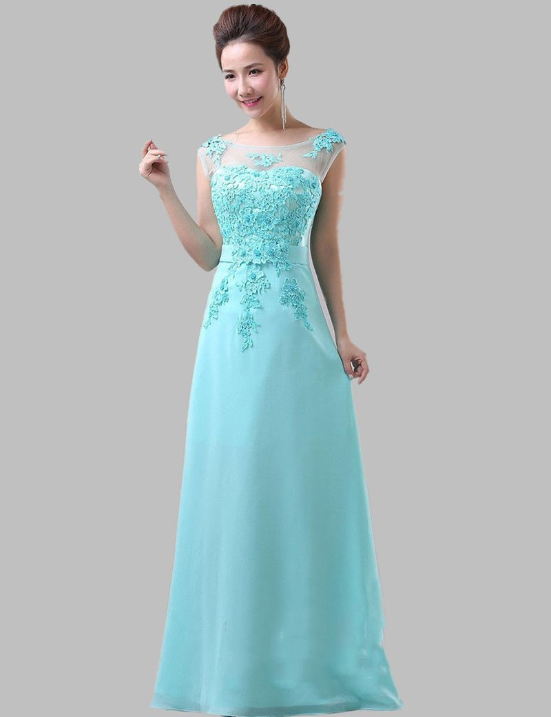 Mint blue lace chiffon long elegant bridesmaid dress lace mint blue lace chiffon long elegant bridesmaid dress ombrellifo Image collections