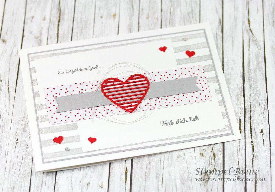 Stampinup Valentinstagskarte; Stampinup Mit Gruß und Kuss; Matchthesketch; Valentinstagskarte basteln; stampinup Frühjahrskatalog 2017; stempel-biene