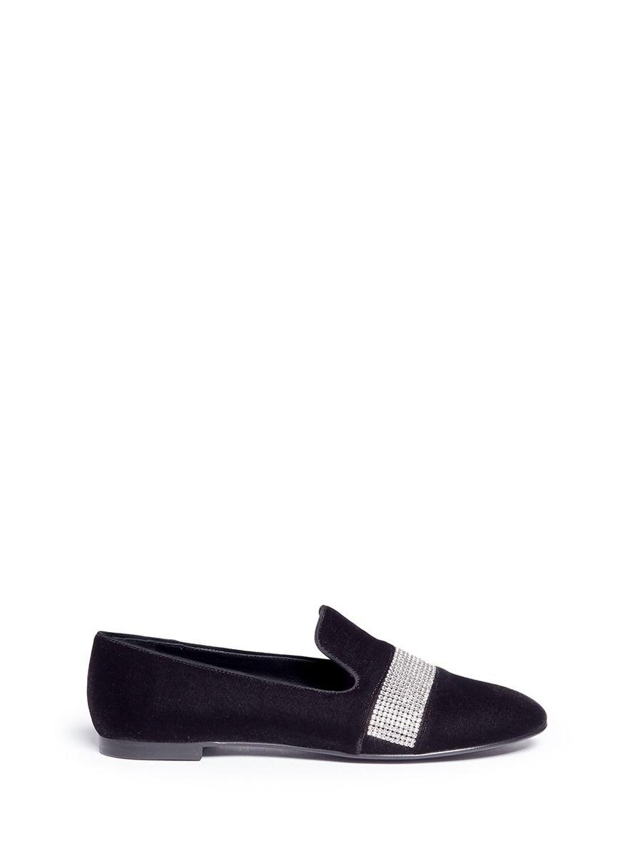 Giuseppe Zanotti Designer Shoes, Velvet Loafers w/Crystals