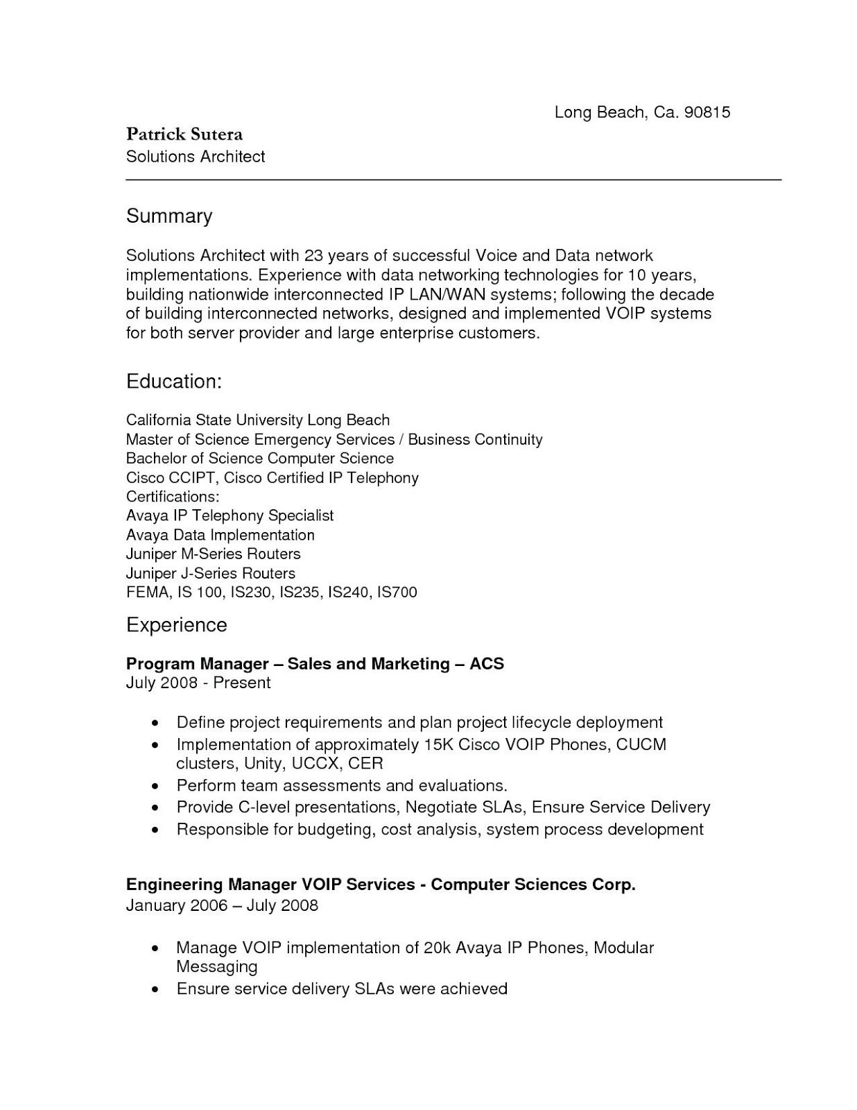 Network Architect Resume Pdf 2019 Network Architect Resume