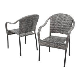 Best Ing Home Decor Sunset 2 Count Grey Plastic Stackable Patio Dining Chairs 234409