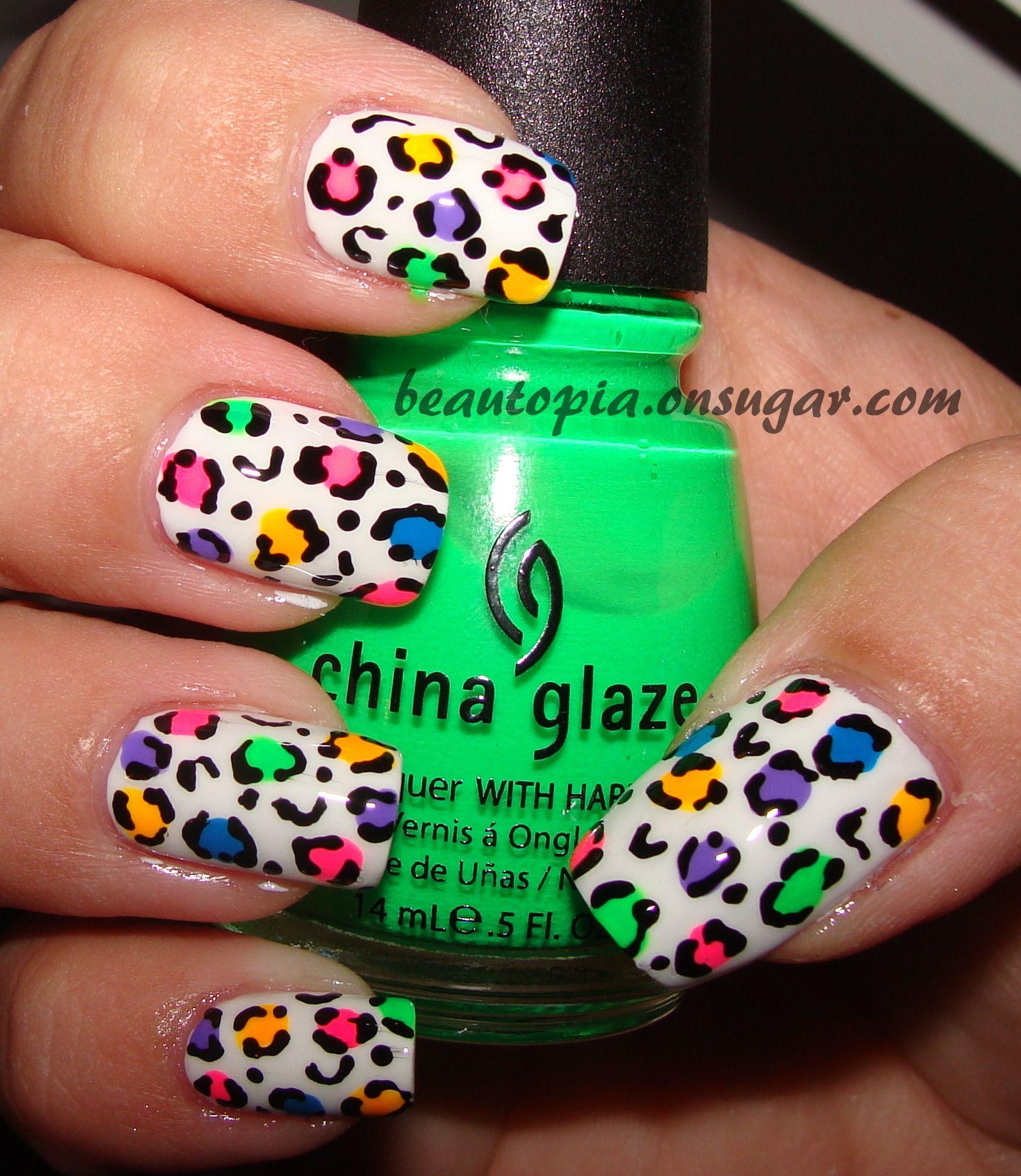 Rainbow cheetah print nails # 2 | Manicure et pédicure | Pinterest