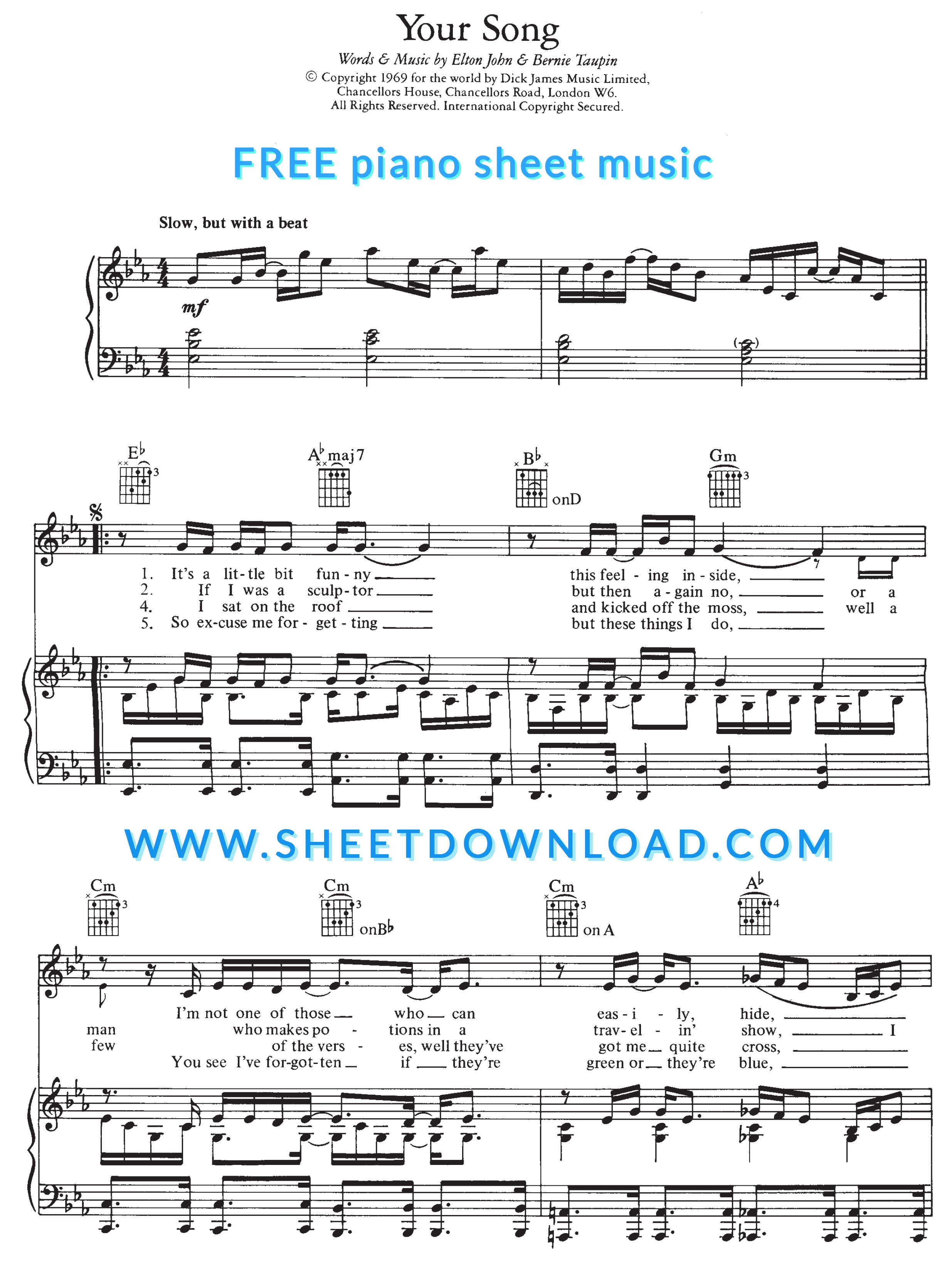 View Download And Print Your Song Piano Sheet Music By Elton John