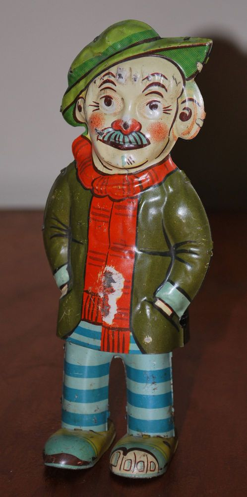"Vintage Tin Litho Windup Hobo - Made by Gama in Germany - 6 3/4"" Tall"