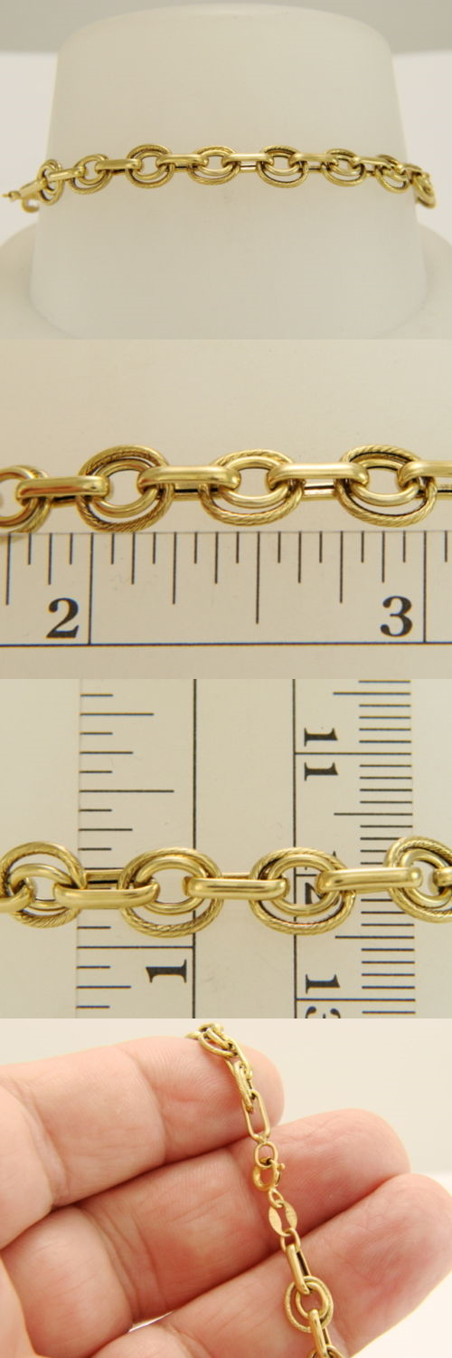 Precious Metal without Stones 164313: 14K Yellow Gold 6.8Mm Flexible Double Oval Link Bracelet 7 2.8 Grams BUY IT NOW ONLY: $195.0