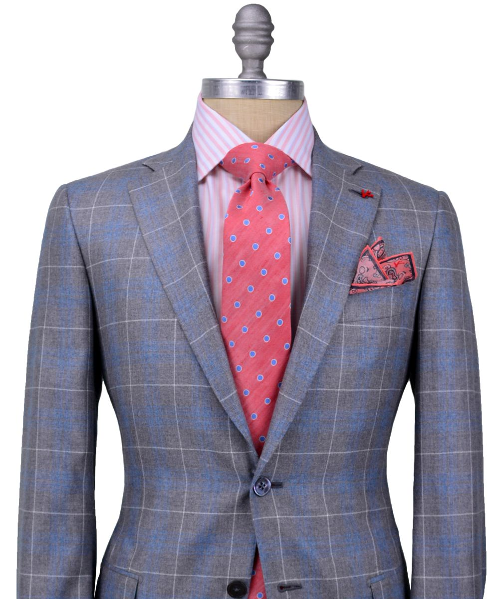 Isaia | Grey and Blue Plaid with Windowpane Sportcoat | Powerful ...