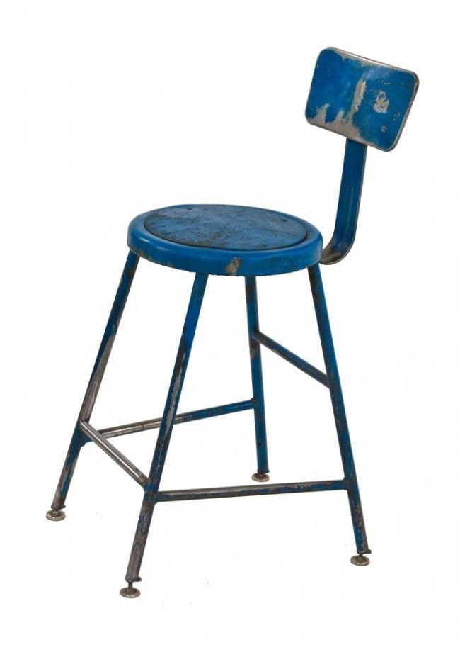 Admirable Modified C 1950S American Vintage Industrial Blue Enameled Inzonedesignstudio Interior Chair Design Inzonedesignstudiocom