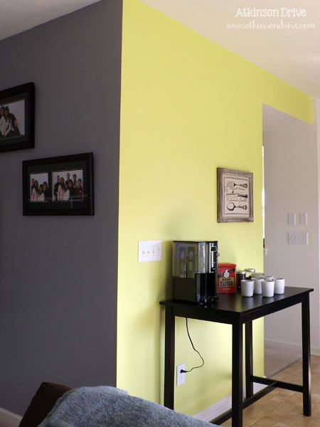 yellow wall and gray tile - Google Search | Living Room | Pinterest ...