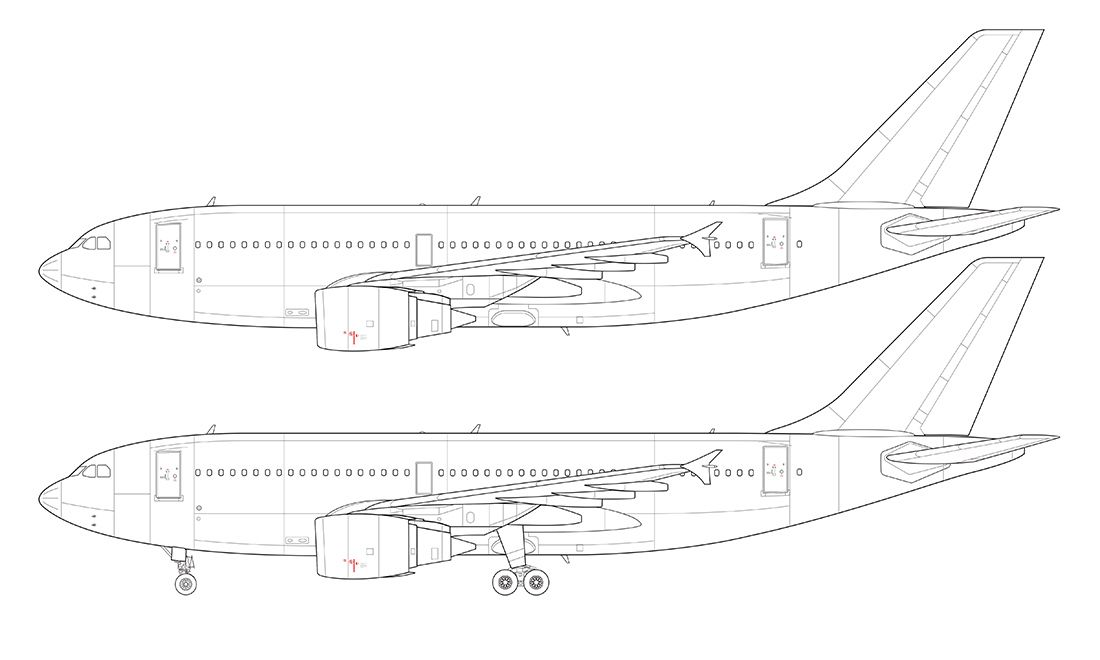 TEMPLATESa310 side view line drawing | Scale model/plastic