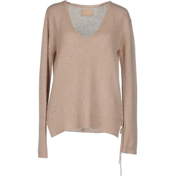 Zadig & Voltaire Jumper (1.695 DKK) ❤ liked on Polyvore featuring tops, sweaters, beige, long sleeve jumper, long sleeve sweaters, v neck jumper, cashmere sweater and brown v neck sweater