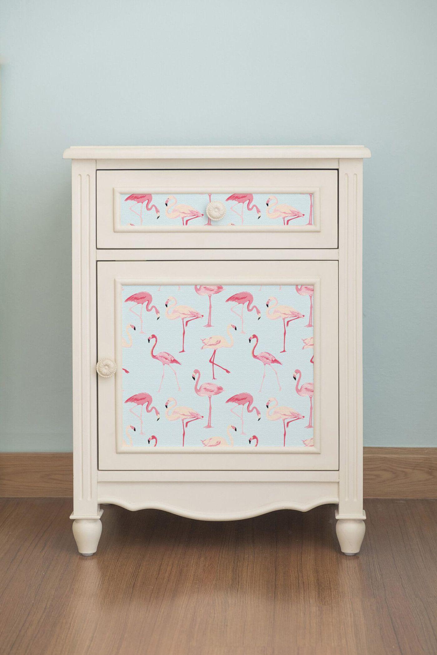 7 Unexpected Ways To Use Removable Wallpaper Murals Wallpaper Wallpaper Furniture New Bathroom Wallpaper Pink Flamingo Wallpaper