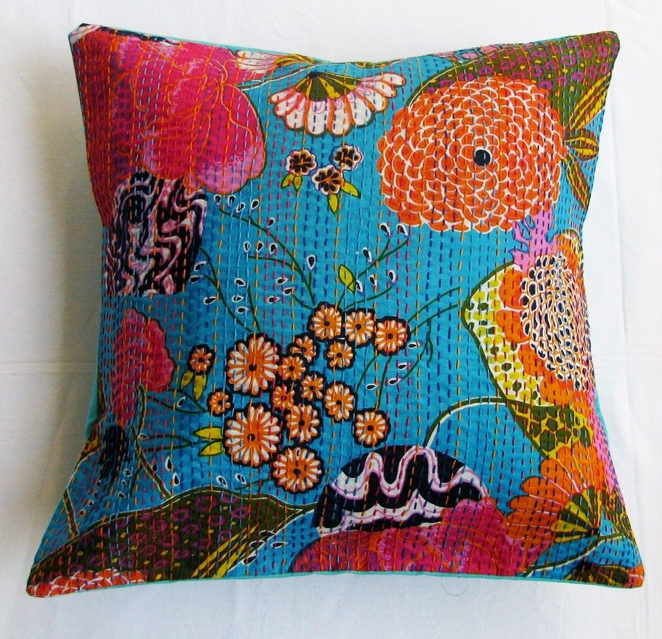 """INDIAN CUSHION COVER CASE KANTHA WORK FLORAL PAISLEY ETHNIC THROW DECOR ART 16/"""""""