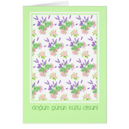 Pretty Floral Turkish Language Greeting Birthday Card Flowers