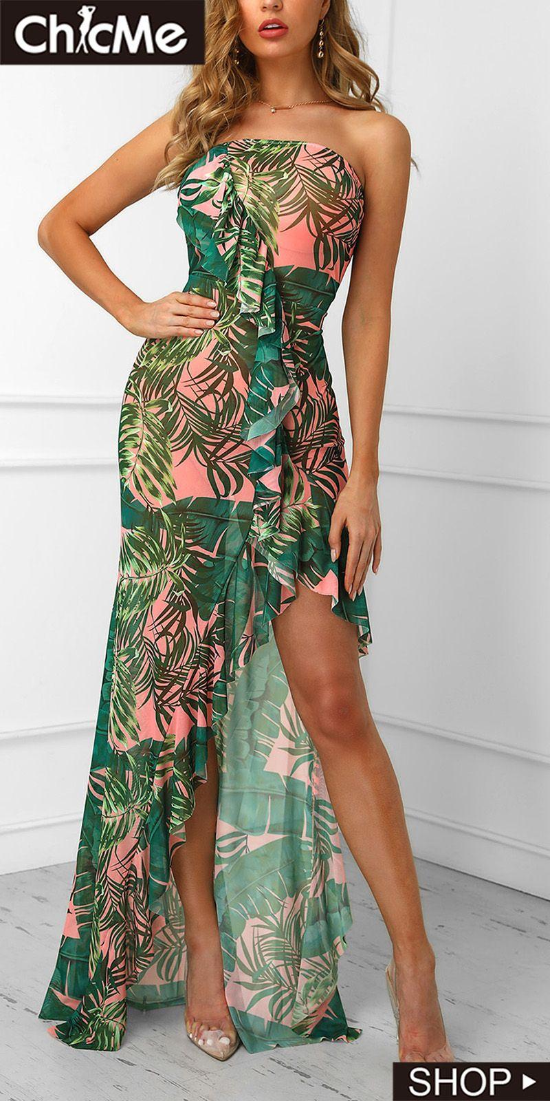 Leaf printed irregular ruffles hem tube dress tube dress