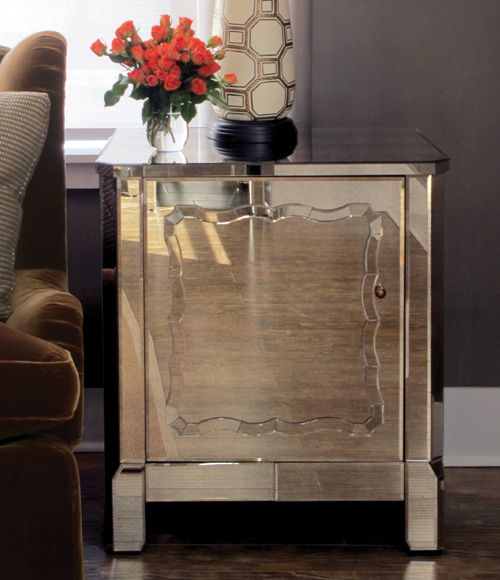 Side Table Or Nightstand    Bungalow 5 Mirrored Marie Side Table And Cadiz  Lamp