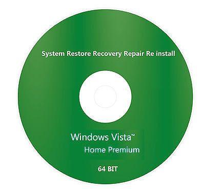 Windows Vista Home Premium Sp2 64 Bit Re Install Restore Recovery