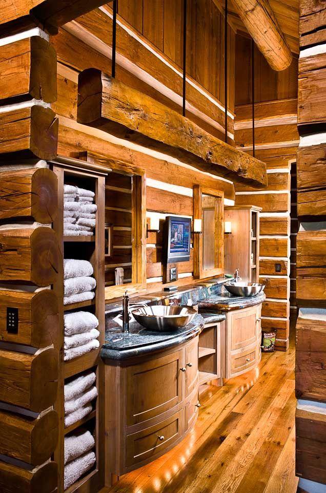 Bathroom Designs By Rocky Mountain Log Homes Rustic cabin bathroom