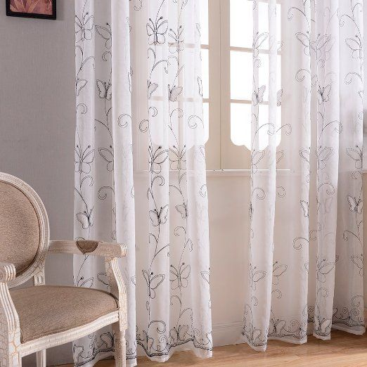 Amazon Com Top Finel Embroidered Butterfly Voile Window Curtain