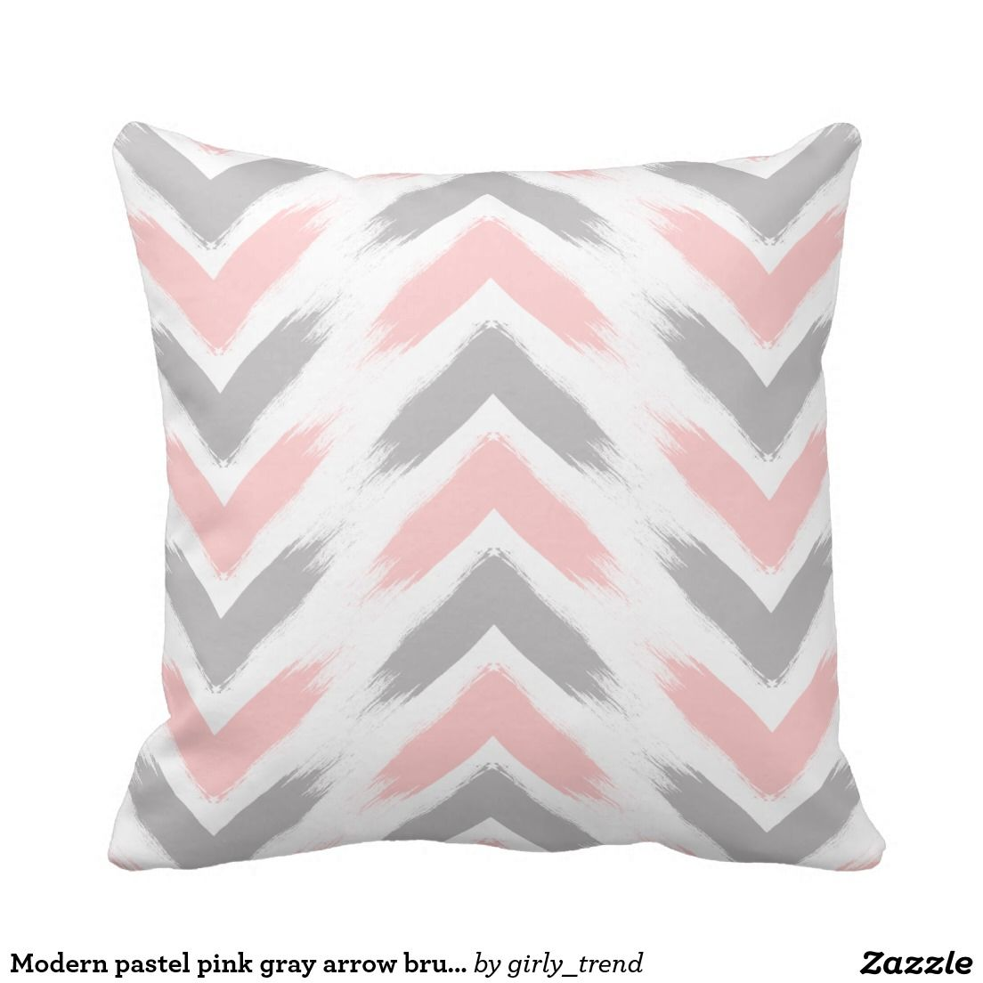 Modern Pastel Pink Gray Arrow Brushstrokes Pattern Throw