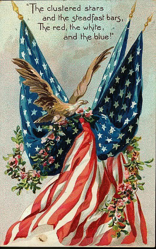 vintage 4th of july fabric block american flag eagle. Black Bedroom Furniture Sets. Home Design Ideas