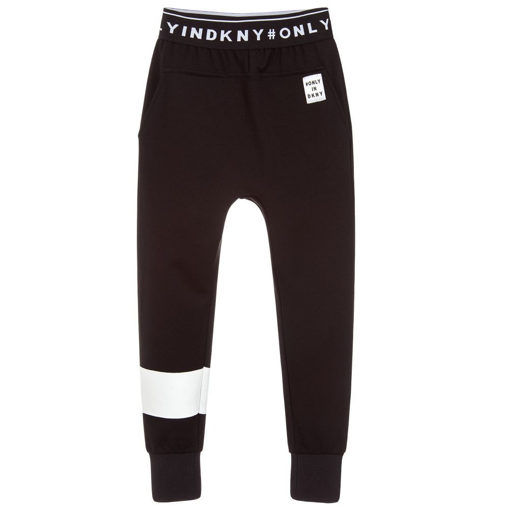 big sale dc4de cd190 Black joggers for girls by DKNY, made in soft Milano viscose ...