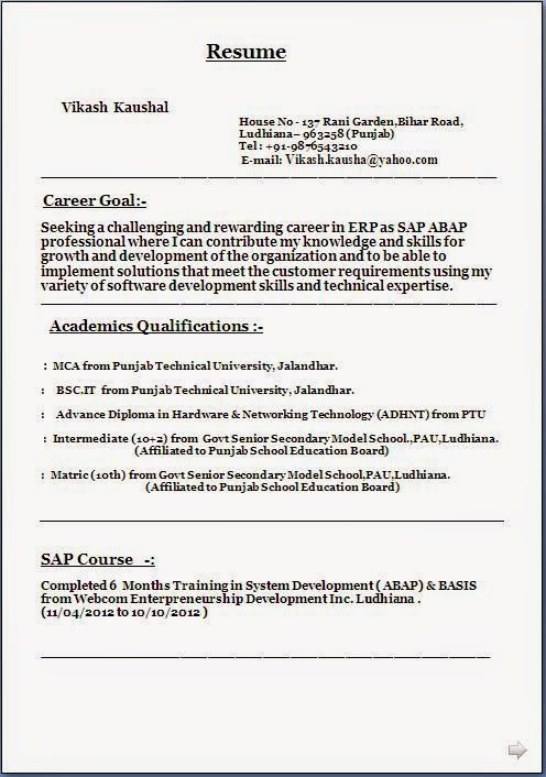 download format of resume Sample Template Example ofExcellent - sap abap resume