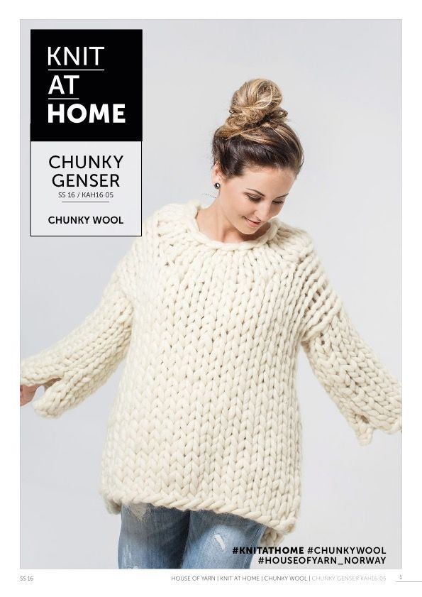 16 05 Chunky Genser Free Knitting Pattern Knitted Sweater