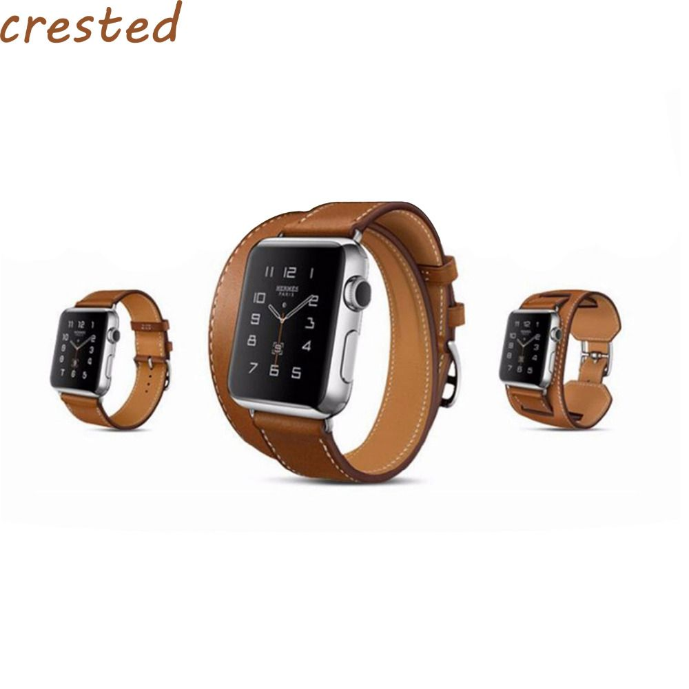0373322c0374 CRESTED Genuine Leather strap for apple watch band 42mm 38 bracelet leather  band high quality