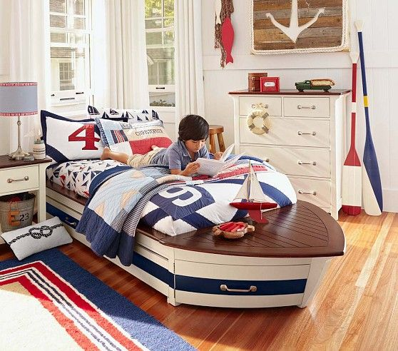 Speedboat Ii Bedroom Set Pottery Barn Kids For The Boat Lover What Could Be Better Kids Room Kid Beds Nautical Bedroom