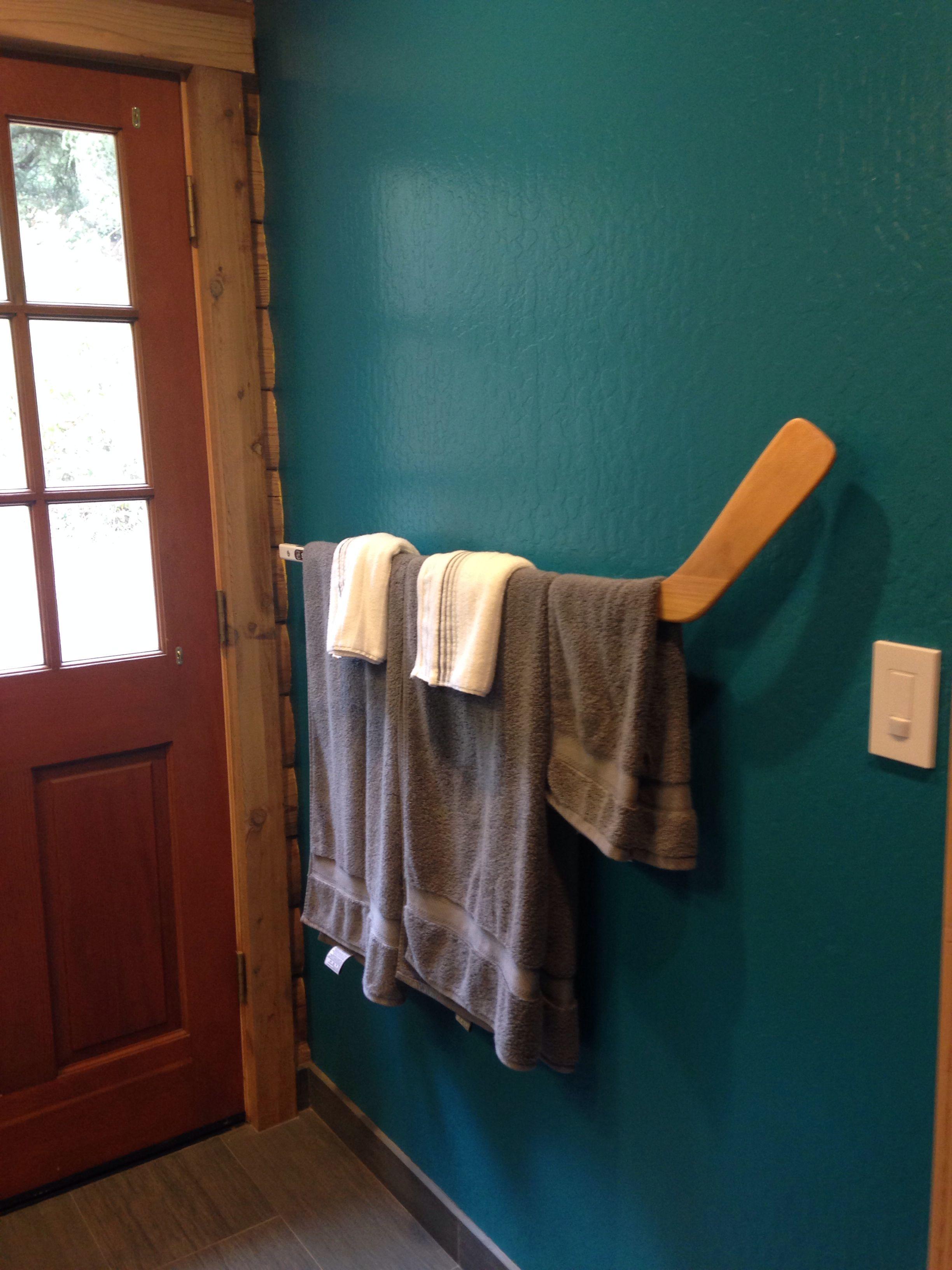 Hockey Stick towel bar for Kids Bath   For the Home   Pinterest ...