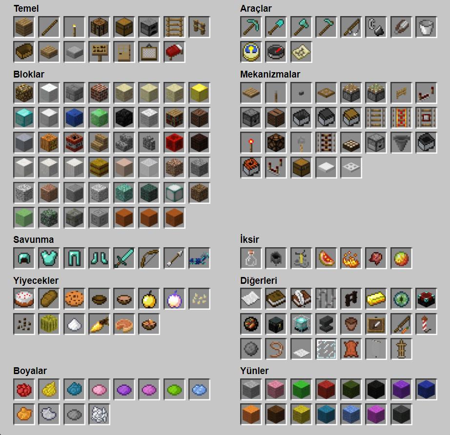 Minecraft Eşya Rehberi Minecraft Rehber
