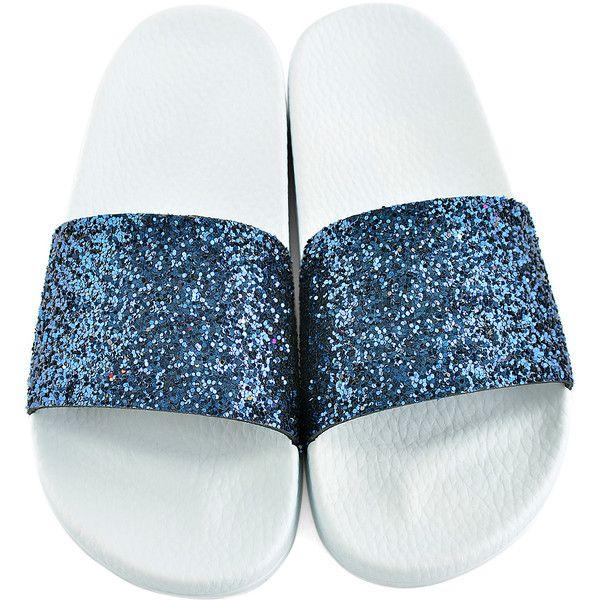 e377af560220 Frisbee Slides Navy Blue Glitter   White Slide ( 20) ❤ liked on Polyvore  featuring shoes