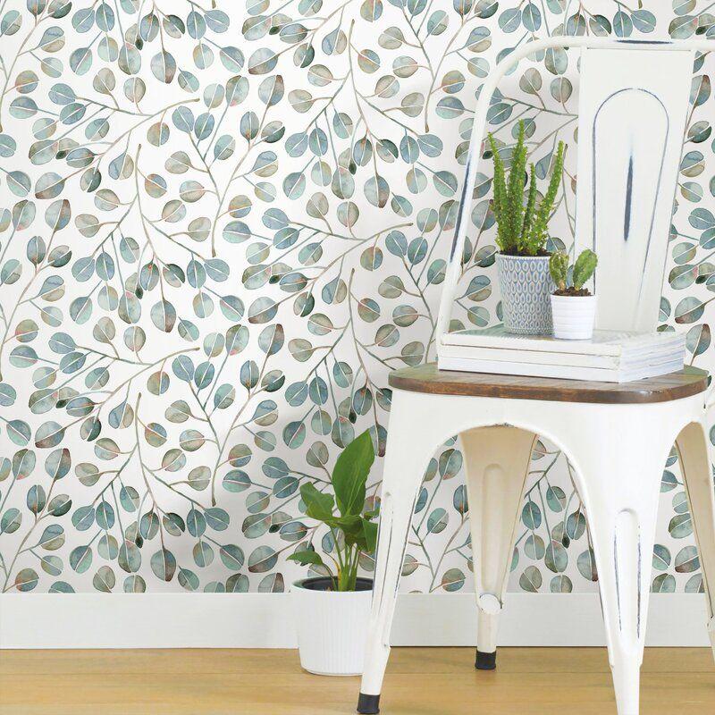 Quinton Eucalyptus 18 86 L X 18 W Peel And Stick Wallpaper Roll Peel And Stick Wallpaper Room Visualizer Decor