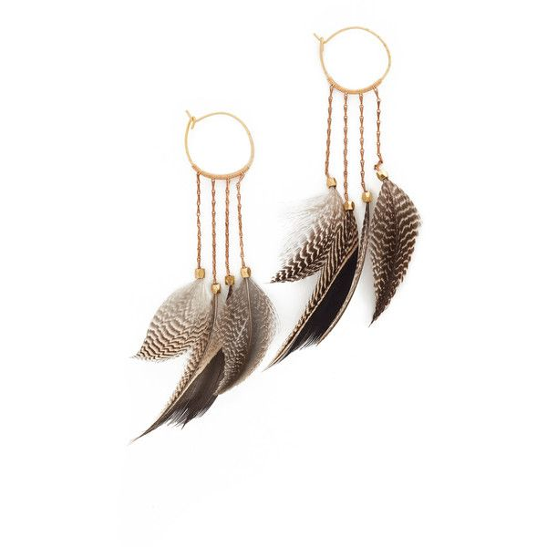 Serefina Statement Feather Hoop Earrings 67 Liked On Polyvore Featuring Jewelry Earrings Marble Feather Earrings Serefina Jewelry 14 Karat Gold Earrings