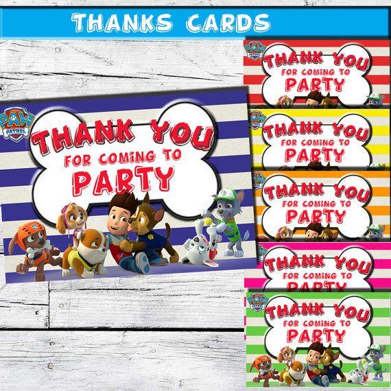 Paw Patrol Thank You Cards-Paw Patrol Thank You by MontageDigiArt