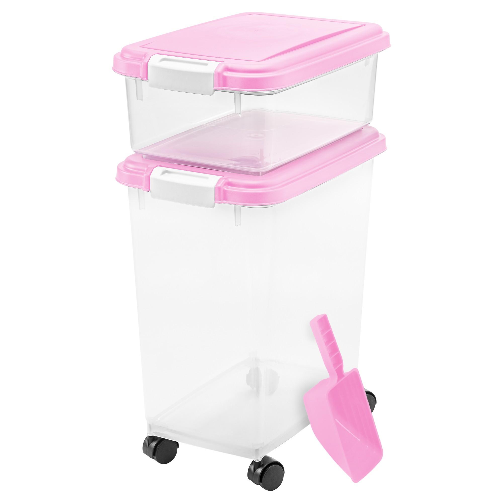 Iris 3pc Airtight Pet Food Storage Set Pink Pet Food Container