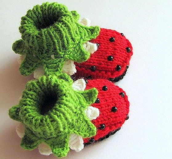 17de246f0c4 Adorable Strawberry Booties By Mia Piccina